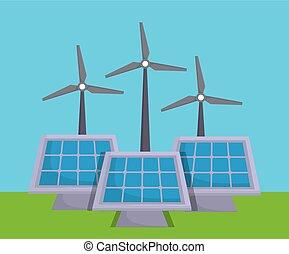 renewable energy design - eolic turbines and solar panels...