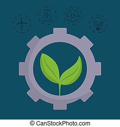 renewable energy design - gear wheel with leaves and...