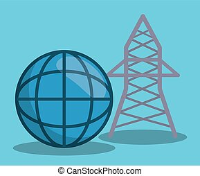 renewable energy design - global sphere and energy tower...