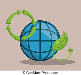 renewable energy design - global sphere and leaf icon over...