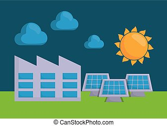 renewable energy design - sun and factory building over...