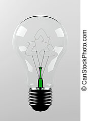 Renewable energy - light bulb with a filament in the shape...