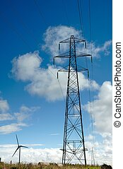 Electricty pylons and windturbine