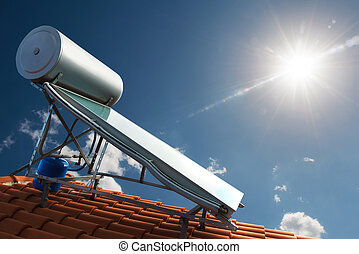 Renewable energy for house - Solar panel with water tank on...