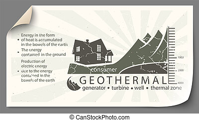 Renewable energy from geothermal paper infographics -...