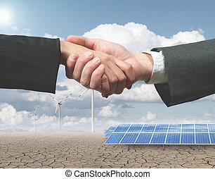 Renewable energy handhsake - New renewable energy project...
