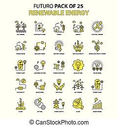 Renewable Energy Icon Set. Yellow Futuro Latest Design icon Pack
