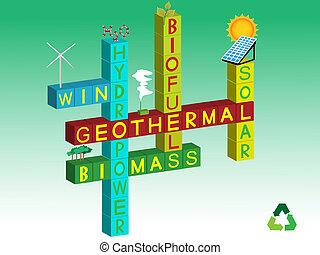Illustration about different renewable energy sources