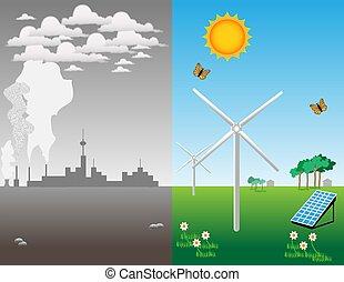 Renewable energy - Illustration about the advantage of...