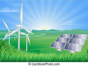 Renewable energy illustration - Illustration of wind...