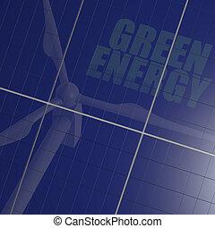 Renewable energy, solar panel and wind turbine