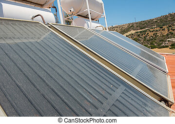 Renewable energy. Solar panel system for hot water
