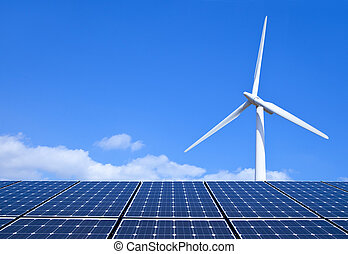 Renewable Energy - Solar panels and wind turbine against ...