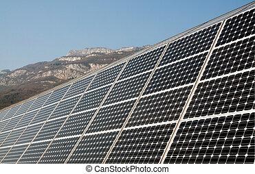 Renewable energy: solar panels of a highway Italian. A solar...