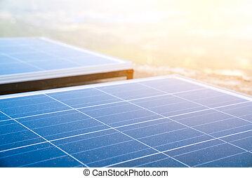 Renewable energy, solar panels. Renewable energy. Solar panels.