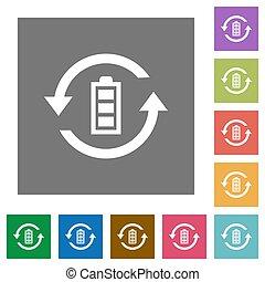 Renewable energy square flat icons