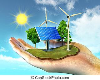 Renewable energy sources. Digital illustration.