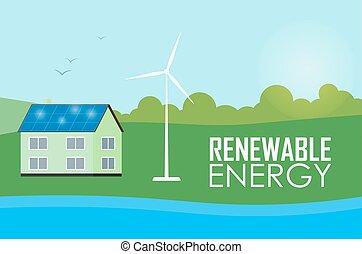 Renewable energy. Sun and wind generation