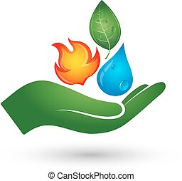 Renewable energy symbol - A drop of water, fire, and on the...