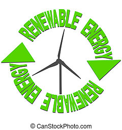 Renewable energy arrow text with arrows and wind turbine illustration