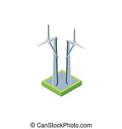 renewable energy turbine on white background