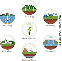 Renewable energy types. Power plant icons vector set....