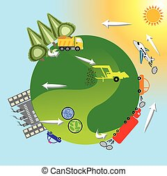 Renewable energy is generally defined as energy that is collected from resources which are naturally replenished on a human timescale, such as sunlight, wind, rain, tides, waves, and geothermal heat. Vector design, illustration.
