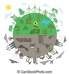 renewable energy versus traditional energy concept in flat...