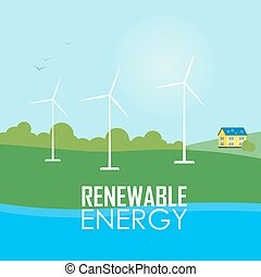 Renewable energy. Wind generator turbines