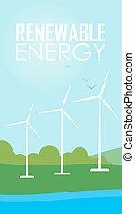 Renewable energy. Wind generator turbines