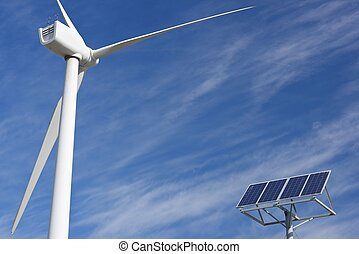 Renewable energy - Windmill and photovoltaic panel for...