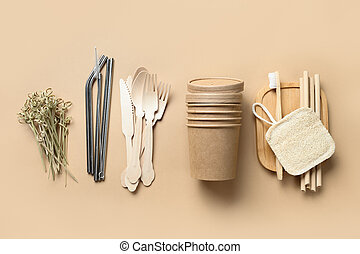Renewable individual objects, bamboo or metal straws, disposable cups and wooden spoons, toothbrush. Zero waste.