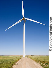 Renewable Resource - A close up of a wind turbine on the...