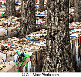 Renewable resource and recycling cardboard packaging concept with stacks of compressed corrugated paper garbage with a group of trees growing through as a symbol to recycle for conservation and the environment.