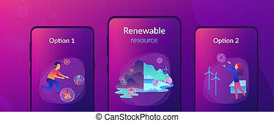 Renewable resource UI UX app interface template. - People...