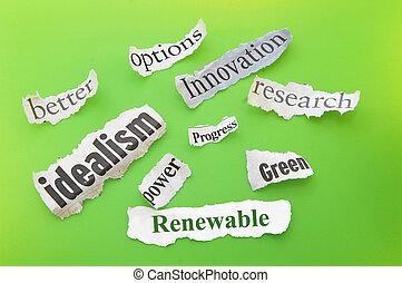 Renewable themed newspaper headlines on green