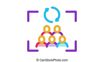renewal of group of people Icon Animation. color renewal of group of people animated icon on white background