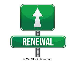 renewal road sign illustration design over a white ...