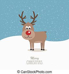renifer, nos, czerwony, śnieżny
