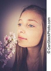 renifler, cerise, effet, grain, girl, fleurs