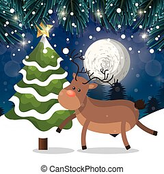 renna, albero, paesaggio neve, notte