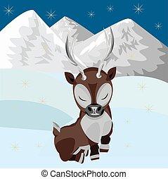 renna, bambino, in, neve