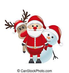 renna, naso rosso, babbo natale, pupazzo di neve