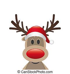 renna, naso rosso, cappello babbo natale