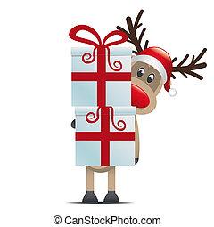 renna, presa, scatole, regalo