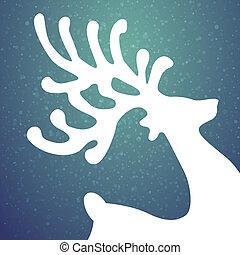 renna, stelle, inverno, fondo, neve