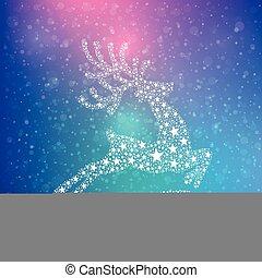 renna, stelle, inverno, fondo