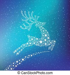 renne, étoiles, hiver, fond