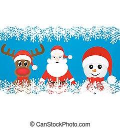 renne, bonhomme de neige, et, père noël