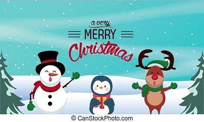 renne, bonhomme de neige, heureux, joyeux, carte, noël